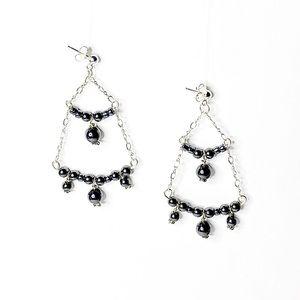 Sterling Silver & Hematite Chandelier Earrings
